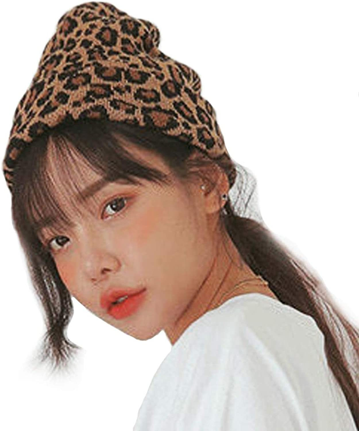CRIZAN Women Girls Wool Blend Faux Fur Paisley Leopard Print Double Layers Winter Thick Slouchy Cable Knit Skull Hat Ski Cap