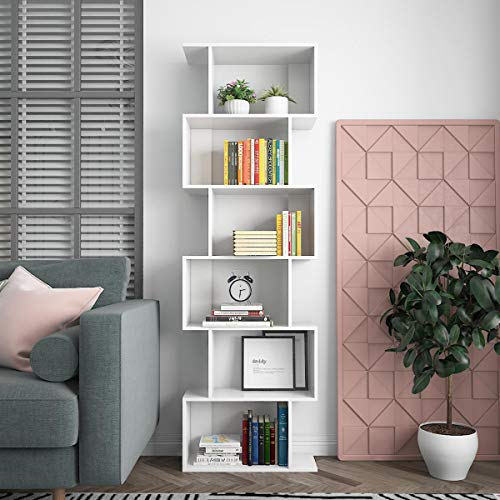 KEEPREAPER 6 Ebenen Bücherregal Weiß Standregal Holz Bücherregal, Regal, Standregal zur Präsentation, freistehender Schrank 60*24*128cm (6-Lagen-Regal)