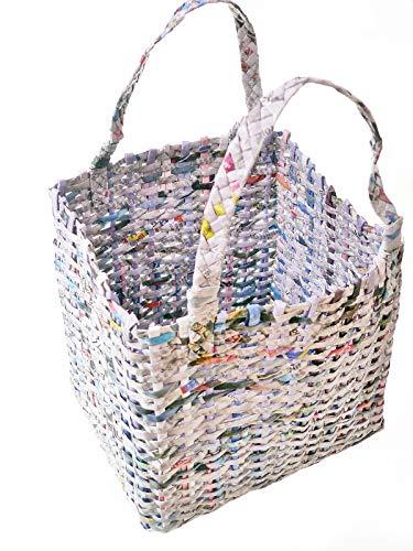 Upcycling Tragetasche Korb Papiereins 25 x 22 cm Recycling Papier Tasche Handmade Fairtrade Handarbeit Unikat