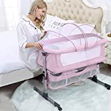 Bedside Sleeper Bedside Crib, Baby Bassinet 3 in 1 Travel Baby Crib Baby Bed with Breathable Net, Adjustable Portable Bed for Infant/Baby with Detachable Mosquito net and Mattress,Pink