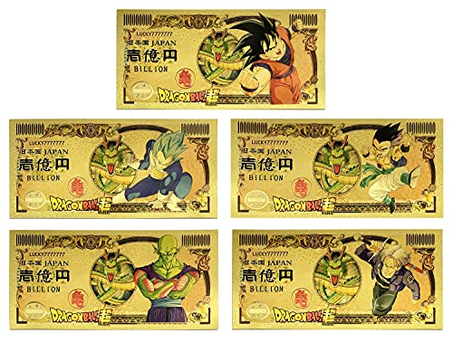 YJacuing Anime Dragon Ball Super Gold Coated Banknote, Limited Edition Collectible Bill Bookmark (5 PCS Collection)