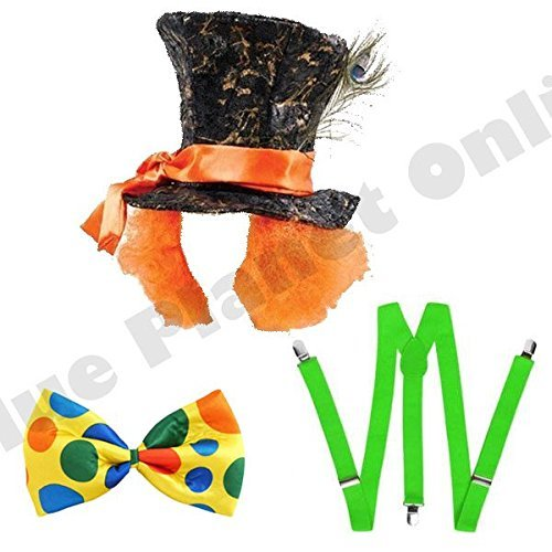 Mens Adults Mad Hatter Hat with Hairs, Green Braces & Jumbo Bow Tie Alice in Wonderland Fancy Dress Costume by Blue Planet Online