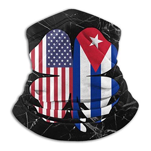 XCNGG Máscara Facial de trébol con Bandera de Cuba Americana para Hombres y Mujeres, Polainas de Cuello sin Costuras para Festivales Deportivos al Aire Libre