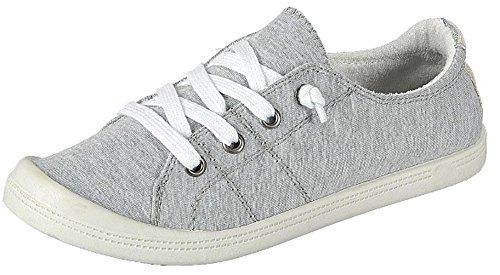 Forever Link Women's Classic Slip-On Comfort-01 Light Grey Fashion Sneaker (8)