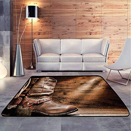 Modern Area Rug Old Leather Working Roper Boots on Timber Backdrop with Sun Rays Weathered Photo Non-Slip Kids Carpet No Chemical Odor, 7 x 7 Feet