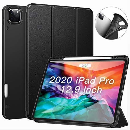 ZtotopCase Funda para iPad Pro 12.9 2020, Ultra Delgada Smart Cover Carcasa con Soporte Incorporado de Pencil- Ligero, Función de Auto-Sueño/Estela, Fundas iPad Pro 12.9 4ª generación, Negro