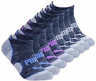 Puma No Show Women's Socks, Moisture Control Mesh Ventilation ( 8 Pair) (Black_Grey_Pink_Teal)
