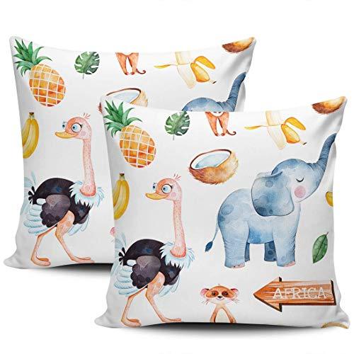 Africa Safari Ostrich Elephant Banana Pineapple Palm Fundas De Almohada Exquisito Almohada Cubierta Suave Tirar Almohada Cojin para Cumpleaños Cama Cámping Juego De 2, 40x40 cm