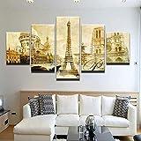 bnkrtopsu 5 Cuadro en Lienzo 5 Fotos Juntas en una Sala de Estar Dormitorio Creativo murales Decorativos y Carteles(Sin Marco) Torre Eiffel de Notre Dame de Paris