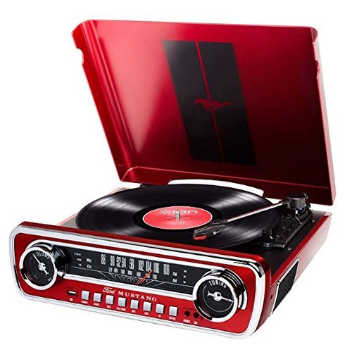 ION Record Player Turn Table 1965 Classic Car-Styled Ford Master Design Mustang LP 4-in-1 Music Center with Built-In Speakers (Red)
