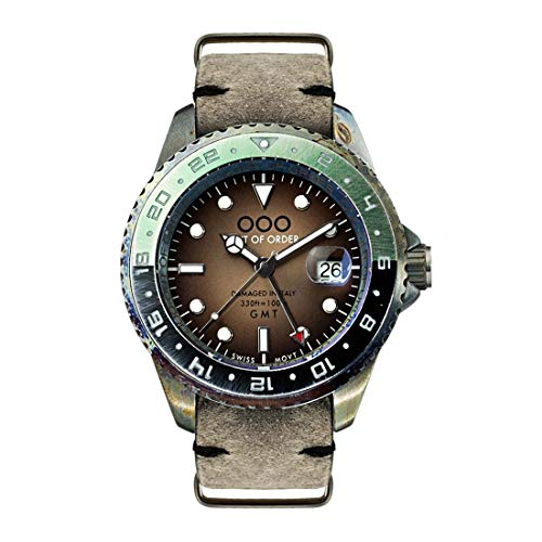Out of Order GMT Dubai Stahl Quarz Swiss Datum Grun Braun Leder Vintage Ruiniert Herren Uhr