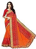 Aruna Sarees Women's Embroidered Bandhej Heavy Georgette Saree with blouse (Orange1)