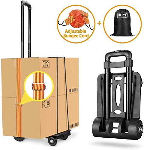 wilbest® Gepäckwagen, 50Kg/110Lbs Faltbarer Transportkarren Handwagen, Leichtgewichtiger Transportkarre, Komfortable & klappbare, für Getränkekisten, Blumenkübel,Geschäftsreise