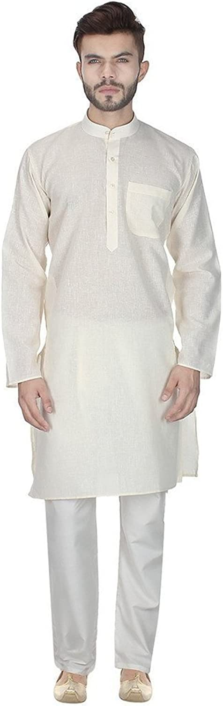 Royal Men's Beige Linen Kurta Pyjama Set for Summer's