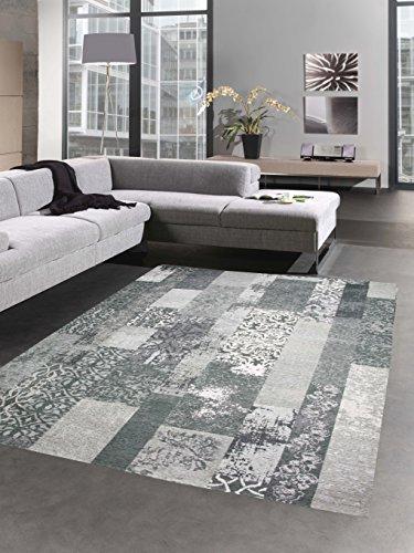 CARPETIA Moderner Teppich Designer Teppich Orientteppich Patchwork Kelim Teppich grau Größe 160x230 cm