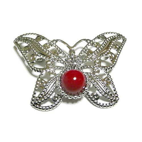 赤珊瑚 (8mm 丸珠) 自由 な 蝶 の ブローチ