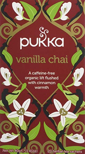 Pukka Vanilla Chai, Oragnic Herbal Tea with Cinnamon & Cardamom (4 Pack, Total 80 Tea bags)