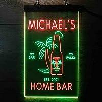 Coronas Extra Bottle Palm Tree パーソナライズされたマイホームバーの装飾 Decor LED看板 ネオンサイン バーライト 電飾 ビールバー 広告用標識 緑色 + 赤色 W40cm x H60cm