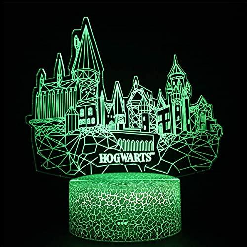 XKUN Luz 3D para Niños, Lámpara de Ilusión 3D Led Led 3D Night Hogwarts Lámpara de Ilusión Óptica 3D, 8 16 Regalos para Niñas de 6 Años, Regalo de Cumpleaños para Niños de 9 Años,Hogwarts