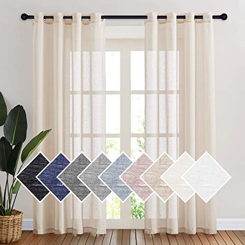 NICETOWN Semi Sheer Curtains 84 inches Long, Grommet Retro Window Treatment Natural Open Linen Weave Vertical Drapes Privacy with Light Filter for Living Room, 52 inches Wide, Beige, 2 Panels