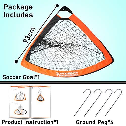 BAYINBULAK Portable Football Goal Mini Pop Up Football Goal for Kids 4' x 3', 1 Pack (Orange)