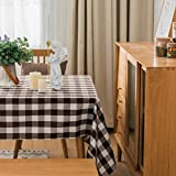 Spring Garden Home Brown Tablecloth - Farmhouse Decor for The Home Washable Gingham Checkered Table Covers for Outdoor Picnic, Kitchen and Holiday Dinner, 52x102-Inch, Brown and White