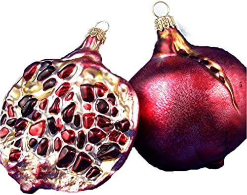 Pomegranate Half Vegetable Food Polish Glass Christmas Ornament Decoration product image