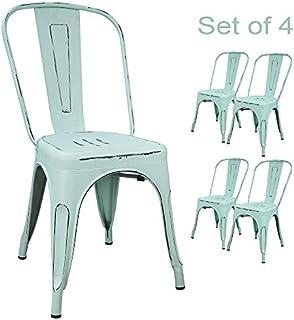 Devoko Metal Indoor-Outdoor Chairs Distressed Style...