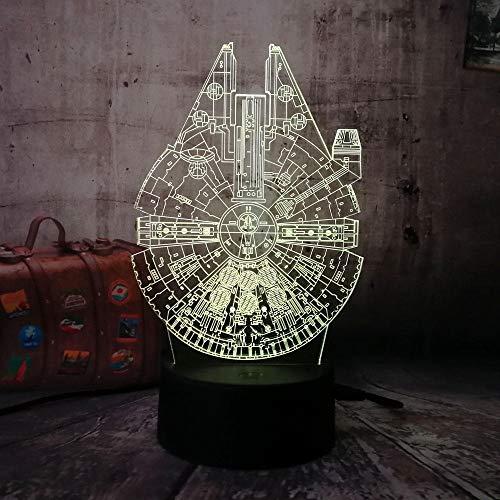 Star Wars Raumschiff 3D LED RGB Nachtlicht 7 Farbwechsel Schlaf Schreibtischlampe Hauptdekoration Urlaub Kinder Weihnachtsgeschenk Spacecraft Controller 7 Farbe USB wiederaufladbare cha