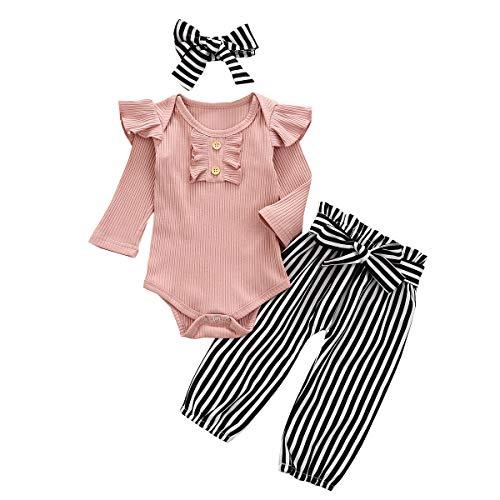 YQYJA Baby-Kleidung, neugeborenes Mädchen, kleine Schwester, lange Ärmel, Blumenmuster, Strampler, Hosen, Leggings, Stirnband, Outfits, X Pink Stripe, 86