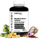 Rhodiola Rosea 4000 mg. 180 cápsulas veganas para 6 meses. Previene la ansiedad y el estrés y reduce el cansancio y la fatiga. Con extractos de Rodiola Rosea, Ginseng Siberiano, Azafrán y Vitamina B6