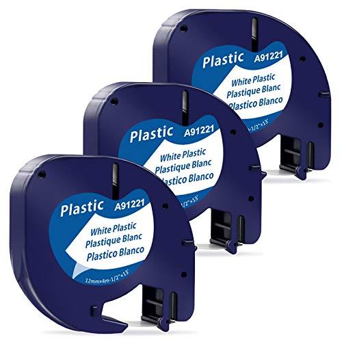 MarkField kompatible Schriftband als Ersatz für Dymo Letratag Plastic White Etikettenband 12mm x 4m Kunststoff Bänder 91221 S0721660 für Dymo Letra Tag LT110T LT100H LT100T QX50 XR XM 2000 Plus,3x