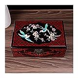 LITINGT Joyero Vintage Joyero Antiguo Pintado Flor Caja de Almacenamiento de Joyas de Madera con Espejo para Joyas Collar Pendientes Almacenamiento Soporte de Exhibición de Joyas (Color: Bird)