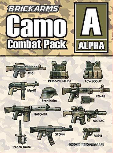 BrickArms Camo Combat Pack Alpha - Juego de armas, compatible con figuras Lego