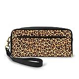 Yuanmeiju Animal Leopard Print Large Capacity Canvas Estuche Pen Bag Pouch Stationary Case Makeup Cosmetic Bag