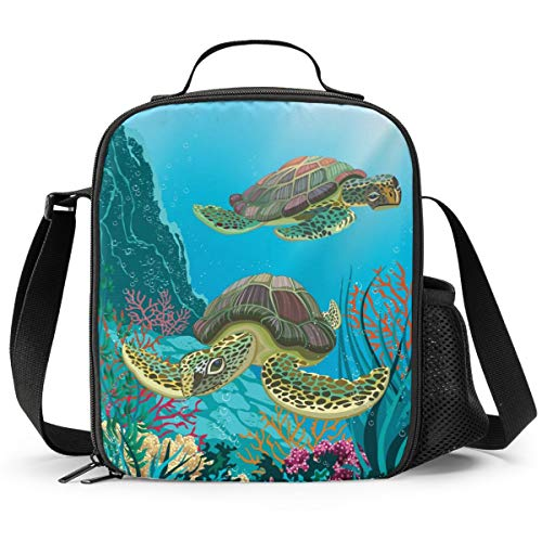 Delerain Sea Turtles Lunch Box, Insulated Lunch Bag with Handle and Shoulder Strap Cooler Picnic Pouch Food Bag for Kids Girls Boys Preschool Office Picnic