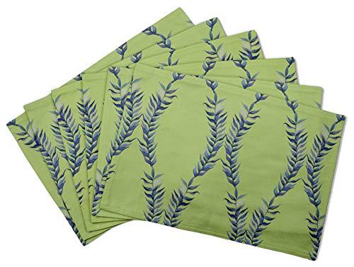 S4Sassy Verde Laurel hojas manteles de Tela reversibles impresos mesa comedor esteras-12 x 18 pulgadas-4 pcs