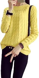 DressU Womens Jersey de Cuello Redondo solidos a Granel Tejer Sueter de Manga Larga Superior