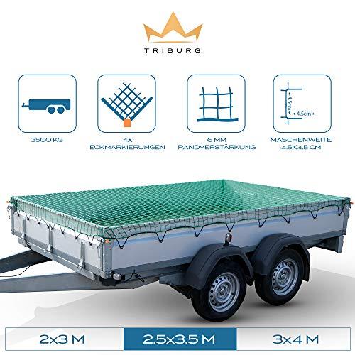 TRIBURG® Anhängernetz 2,5x3,5 mit Eckmarkierungen - Hängernetz mit Spanngummi zur optimalen Ladungssicherung - Anhänger Netz mit Gummiseil…