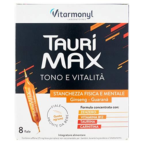 Vitarmonyl TAURIMAX  Integratore 8 fiale  Tono e vitalità  Pronto da bere  Formula concentrata  Registrato Ministero Salute Italiano