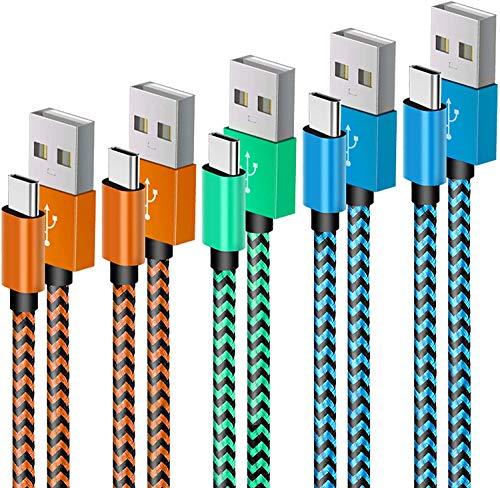 USB C Kabel XIAE, [5 Stück 2M] Nylon USB Typ C Handy Datenkabel Fast Charge Schnellladekabel für Samsung Galaxy S10/S9/S8+, Huawei P30/P20, Sony Xperia XZ, Google Pixel, LG, OnePlus