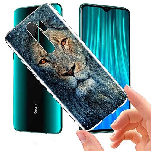 Pnakqil Funda Xiaomi Redmi Note 8 Pro Transparente Silicona Carcasa Ultrafina Suave Gel TPU Piel Bumper Antigolpes Protectora Case Cover Compatible con Xiaomi Redmi Note8 Pro, León Azul