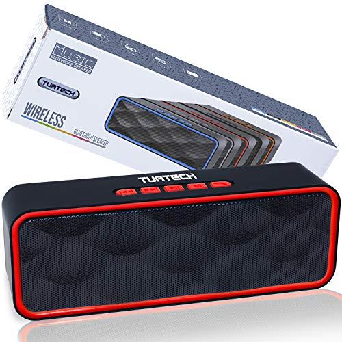 Cassa Bluetooth Portatile 5.0 Altoparlante TUATECH, 12 Watt, Speaker Bluetooth con Microfono, USB, TF Card, AUX, Radio, Stereo Potente. Cassa per Smartphone, Durata 9 ore, Batteria 1200mah, Red