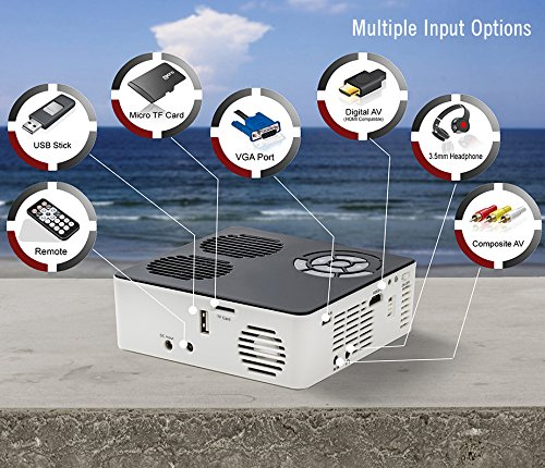 AAXA P6 Mini LED Projector with Rechargeable Battery - Supports 1080p HD, Portable Projector Compatible with Fire TV, iPhone, iPad, PS4, Xbox, HDMI, Onboard Media Player, for Home Theater, Business Photo #6
