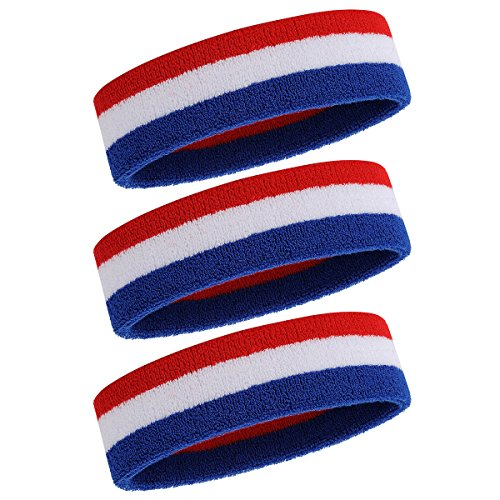 ONUPGO Sweatband Headbands for Men & Women -3PCS Sports Headbands Moisture Wicking Athletic Cotton Terry Cloth Head Band