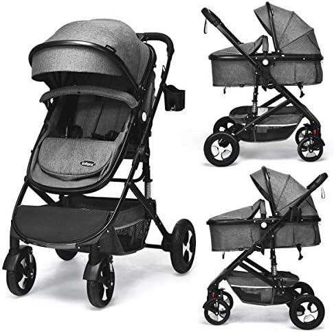 INFANS Baby Stroller for Newborn 2 in 1 High Landscape Convertible Reversible Bassinet Pram product image
