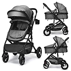 ❤Durable Wheels & 3D Solid Suspension Frame: With anti-shock design, each front wheel with two springs to absorb shocks and protect baby's brain and body. By the 3D solid suspension frame, each sides of the pram are equipped with high-quality shock a...