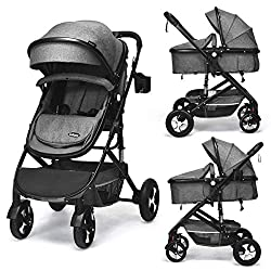 INFANS 2 in 1 high landscape baby stroller with bassinets