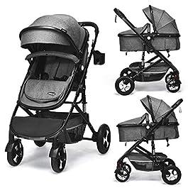 INFANS Baby Stroller for Newborn, 2 in 1 High Landscape Convertible Reversible Bassinet Pram for Infant & Toddler, Foldable Aluminum Alloy Pushchair with Adjustable Backrest, 3D Suspension