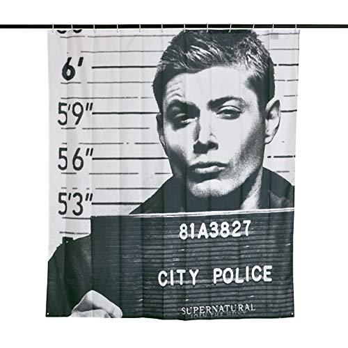 Elbenwald Supernatural Duschvorhang Dean Winchester in Jail Wand Banner 180x200cm schwarz weiß
